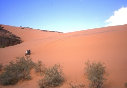 Walking the bikes down into the Oued