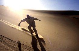 Jon dunesurfing on Erg Killian