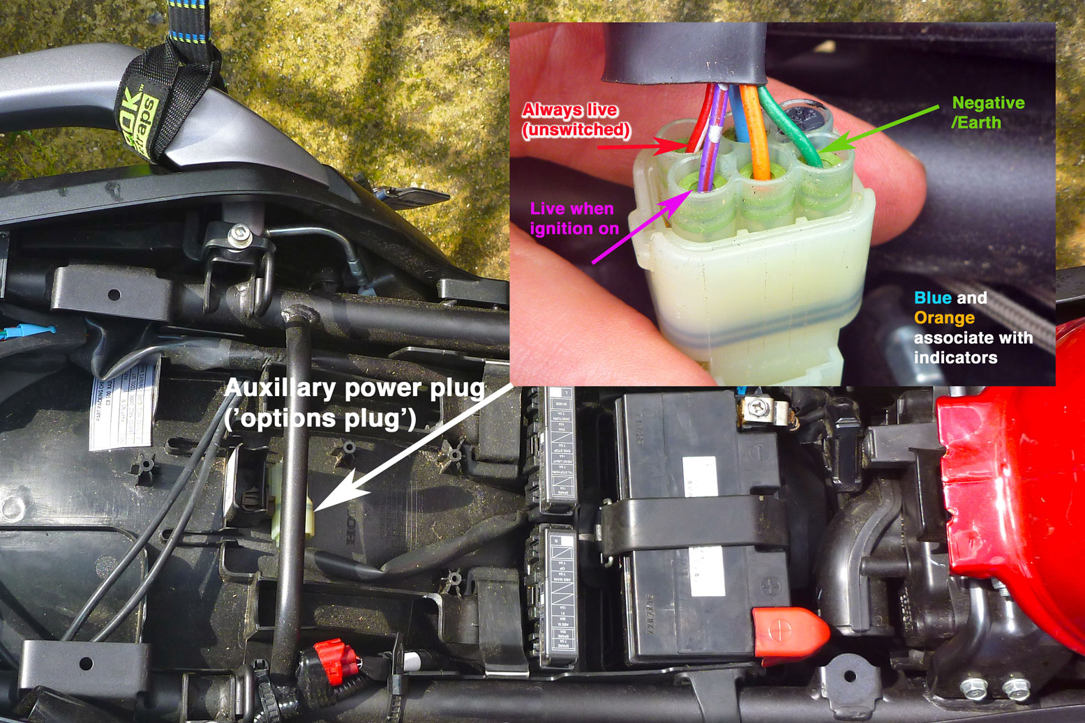 Cb500x Auxillary Power Satnav Mount Yamaha Wr250r Wiring Diagram But On The Cb X Forum Someone Unearthed A Stray Options Plug Under Seat Left That Does Just And So Is Ideal For Electrical Accessories