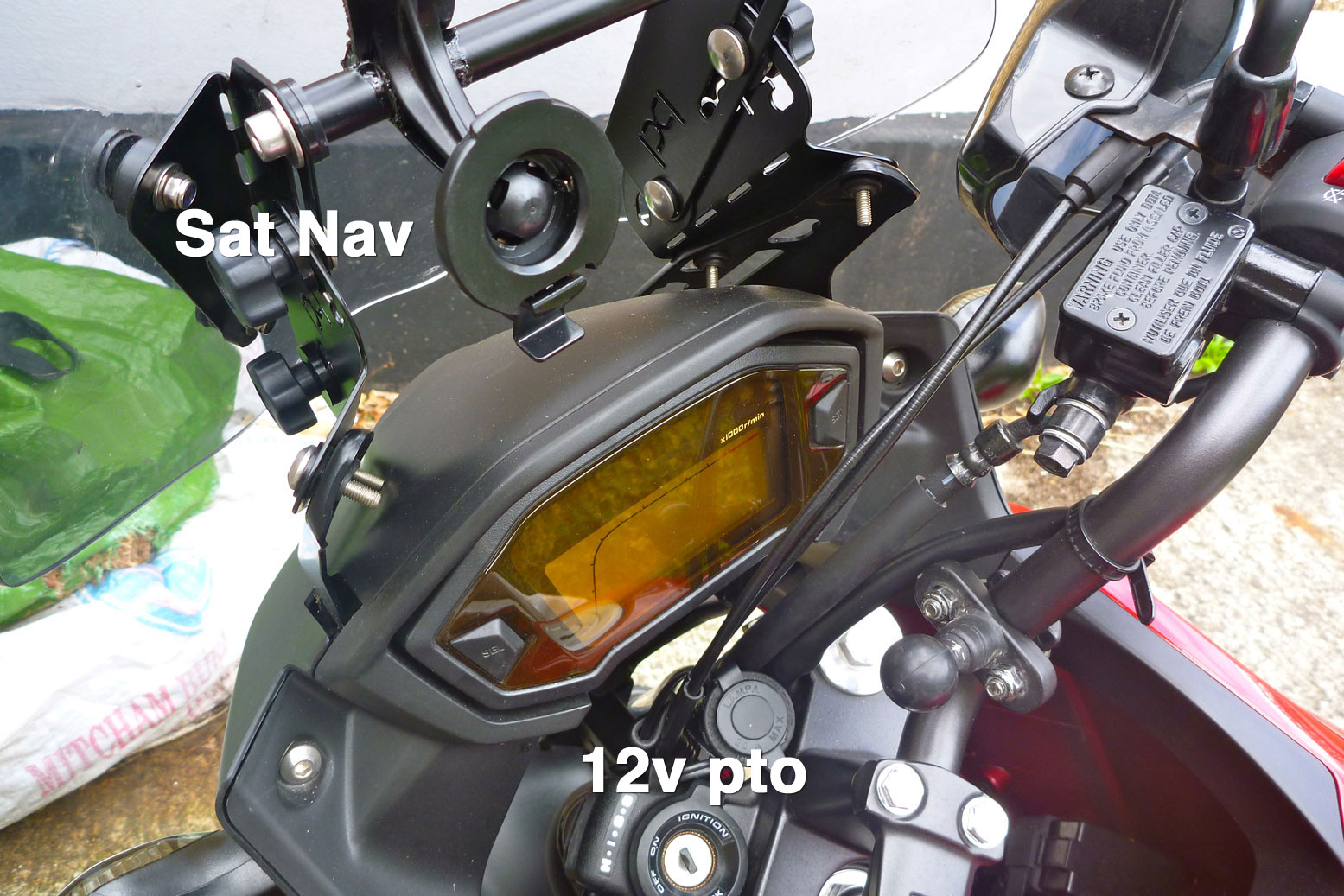 Cb500x Auxillary Power Satnav Mount 12v Socket Wiring Diagram Getting The Wire To Ignition Key Area For Pto Was Easy Too Just Two Hex Bolts Removed Black Lhs Side Panel And Feeds